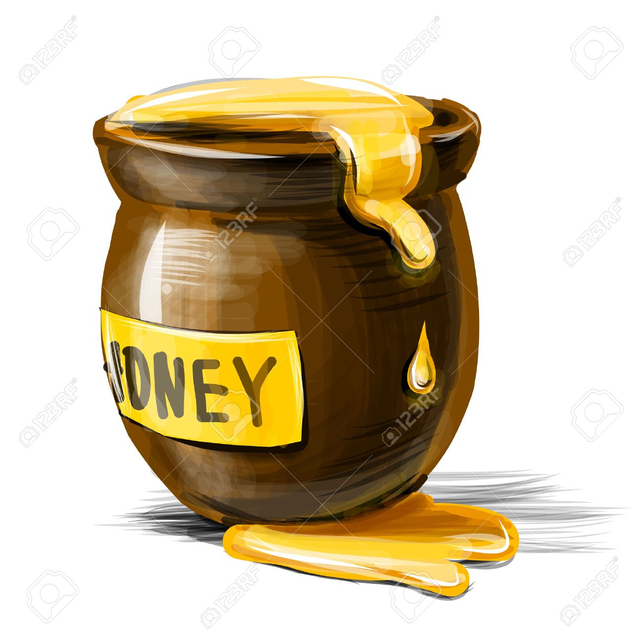 Honey pot isolated on white background. Vector illustration Stock Vector - 22819681