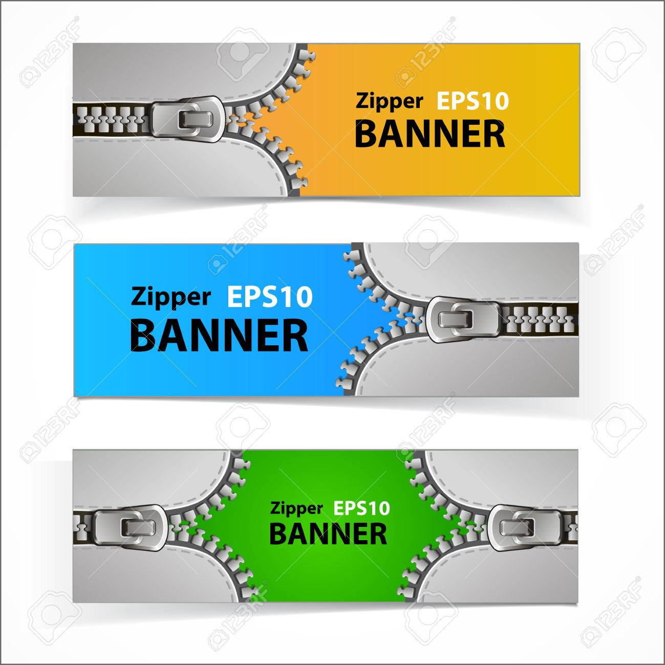 Colorful set of promotional sale banners with original zipper design Stock Vector - 22819772