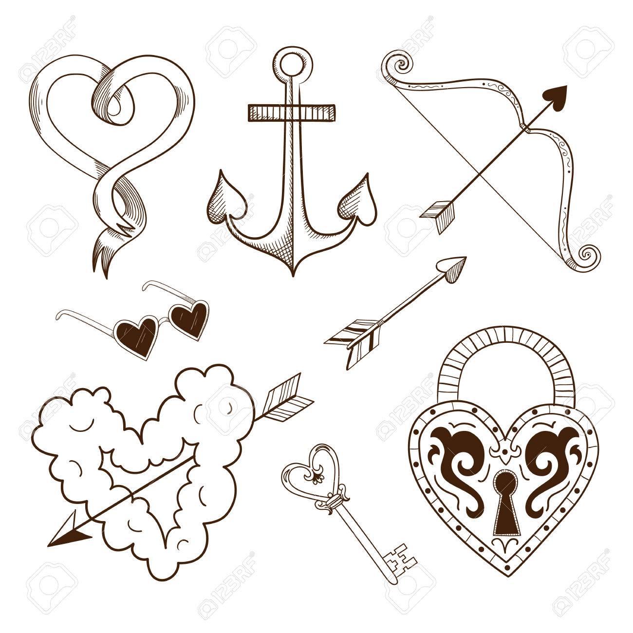 Colección De Elementos Del Vector De Dibujo Para El Diseño Romántico