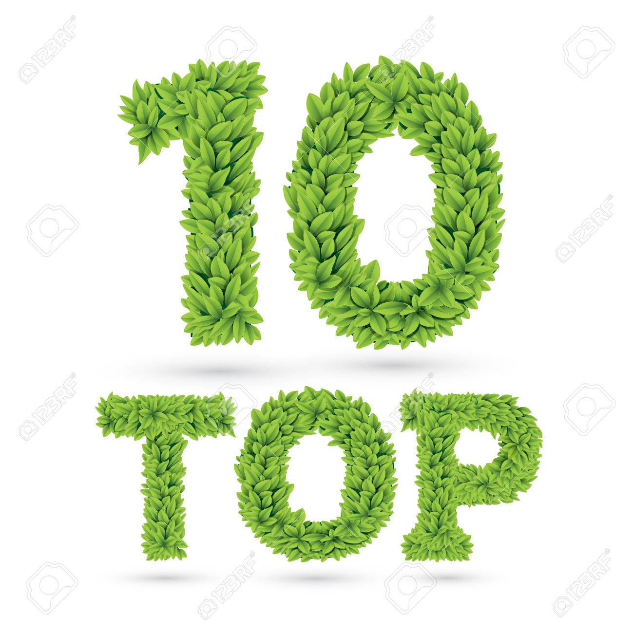 Top 10 text of green leaves isolated on white Stock Vector - 27166107