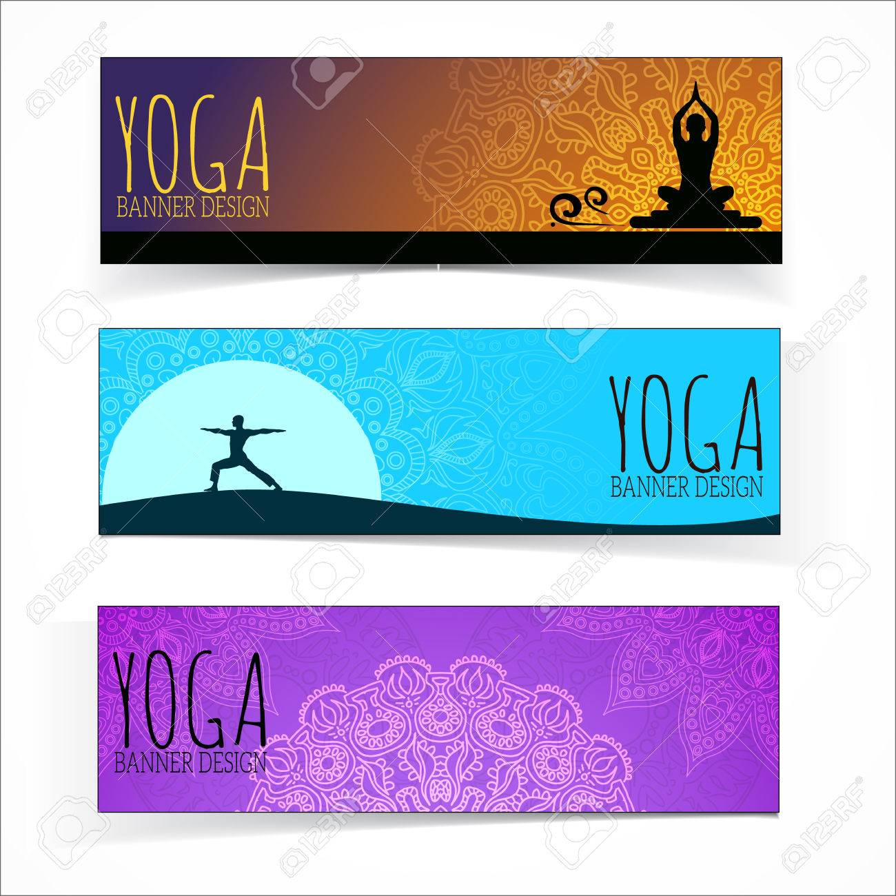 Yoga Banner Collection Royalty Free Cliparts Vectors And Stock Illustration Image 33597565