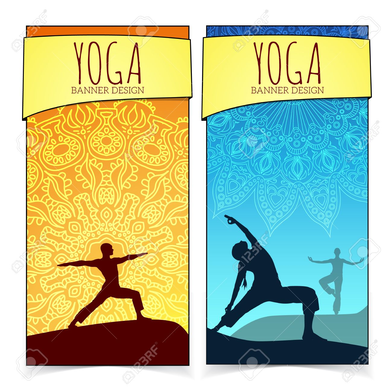 Yoga Banner Collection Royalty Free Cliparts Vectors And Stock Illustration Image 33597590