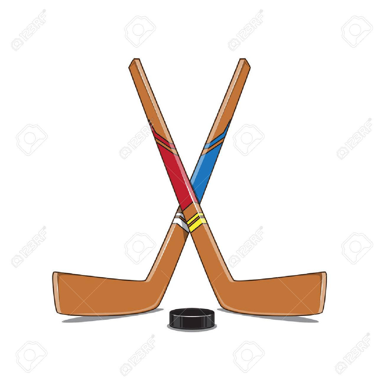 crossed hockey sticks and puck royalty free cliparts vectors and rh 123rf com hockey sticks clipart hockey stick clipart