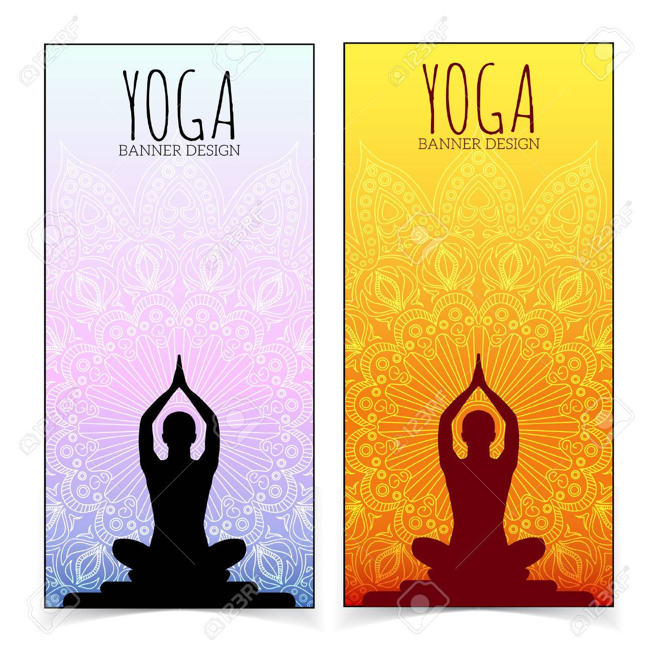 Yoga banner collection. Stock Vector - 34789606