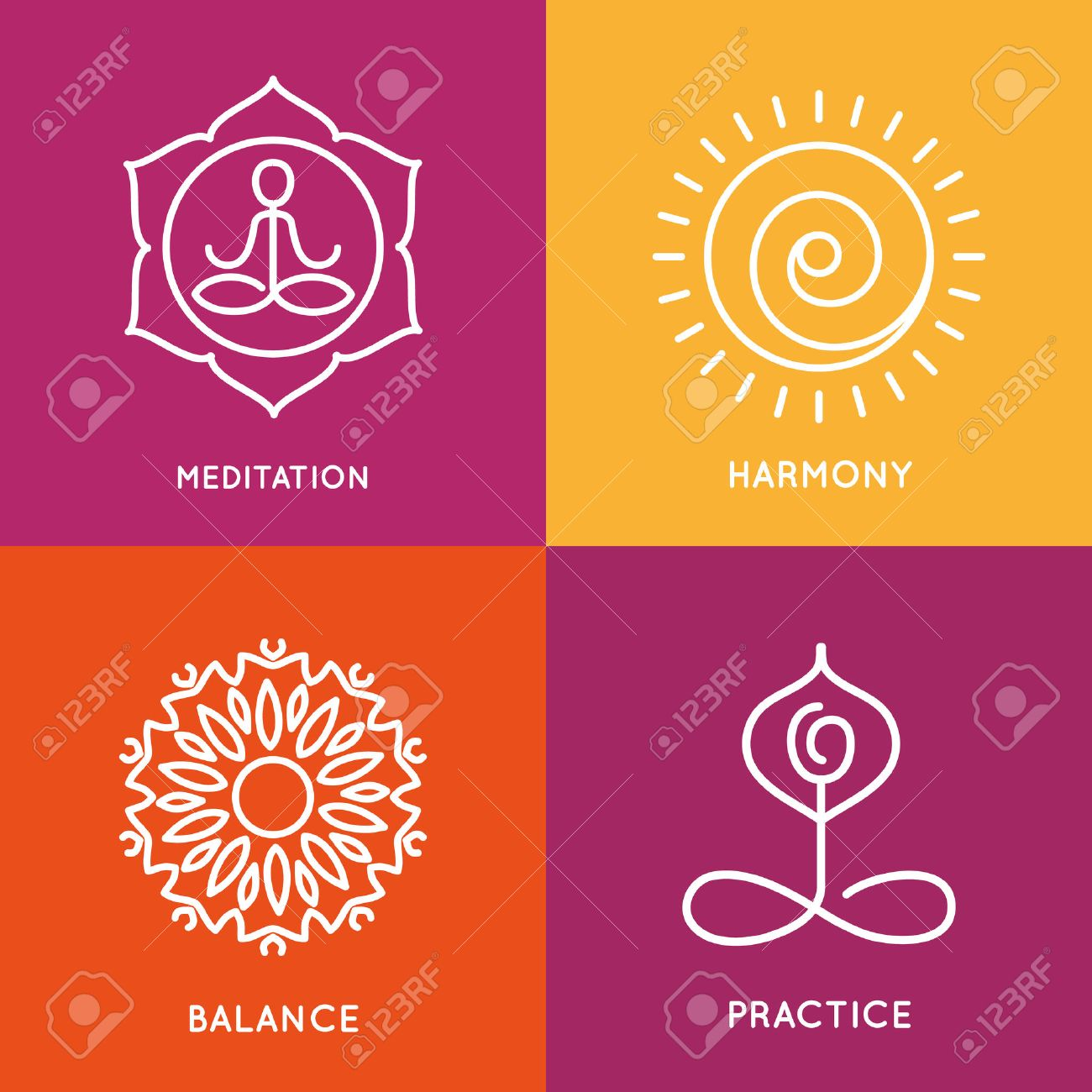 Yoga line symbols in colorful squares. Stock Vector - 41299022