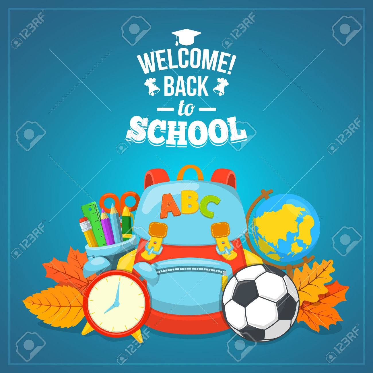 Education background design. School year beginning. Colorful vector composition. Stock Vector - 43911099