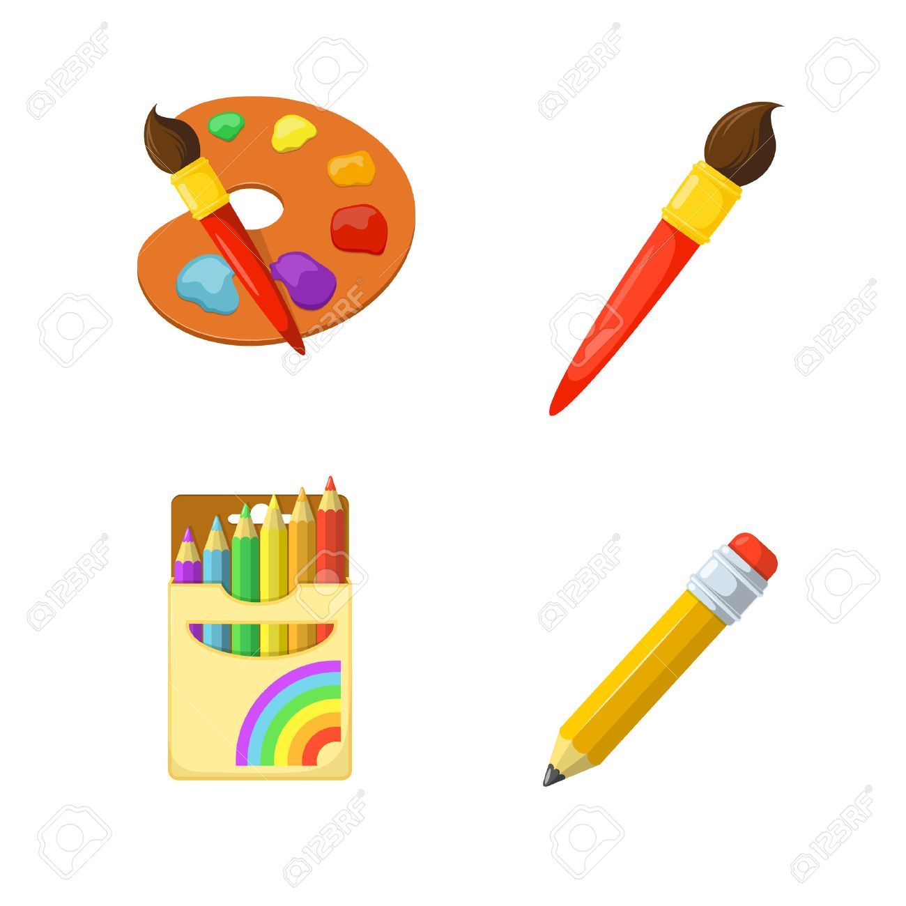 Children creativity. Painting drawing and coloring. Education design elements. Stock Vector - 44029233