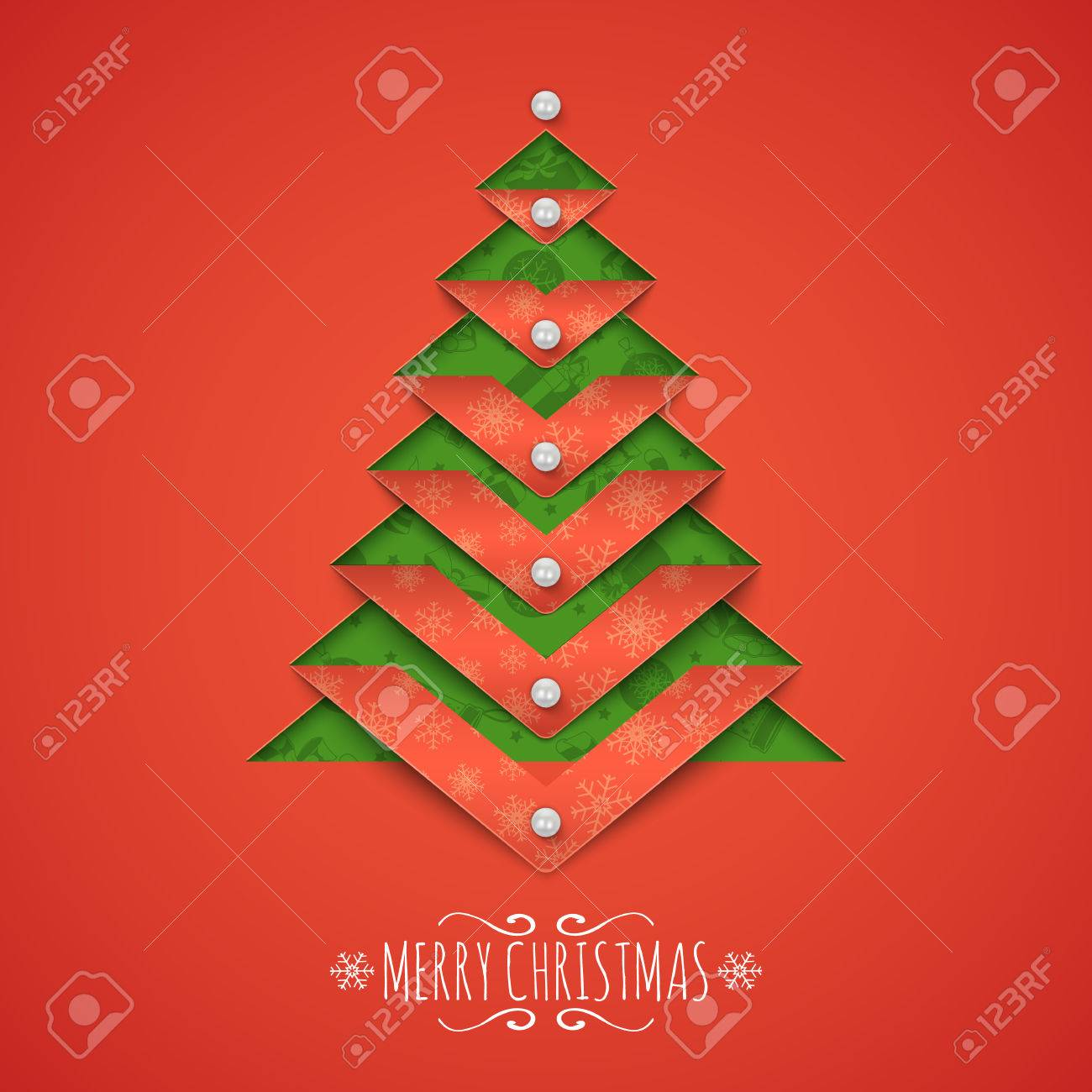 paper cut out christmas tree and text greeting card vector template