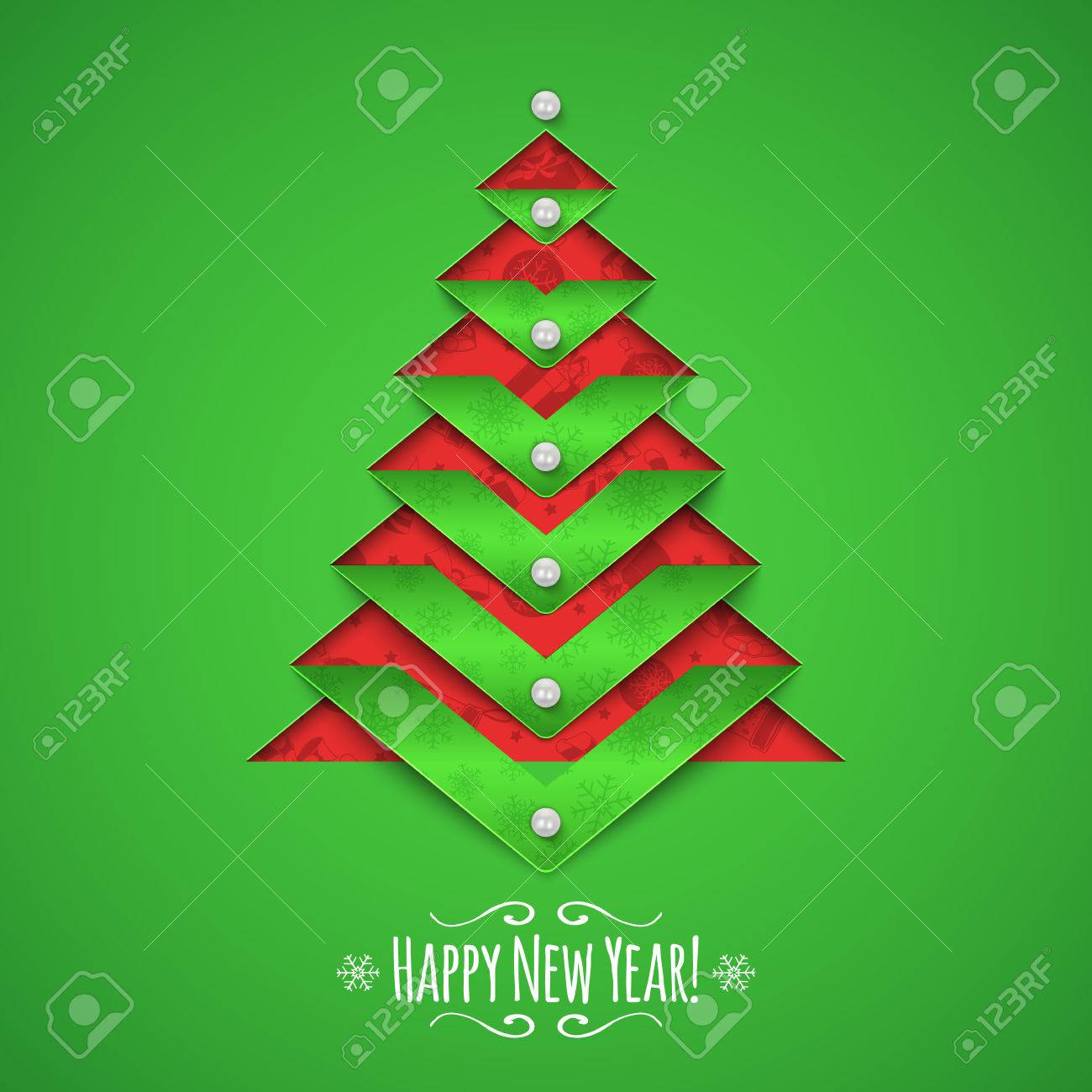 Christmas Tree Cut Out.Paper Cut Out Christmas Tree And Text Greeting Card Vector Template