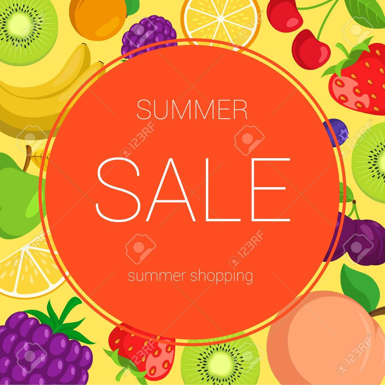 夏の果物とベリーはベクトル イラストですデザイン テンプレートを編集