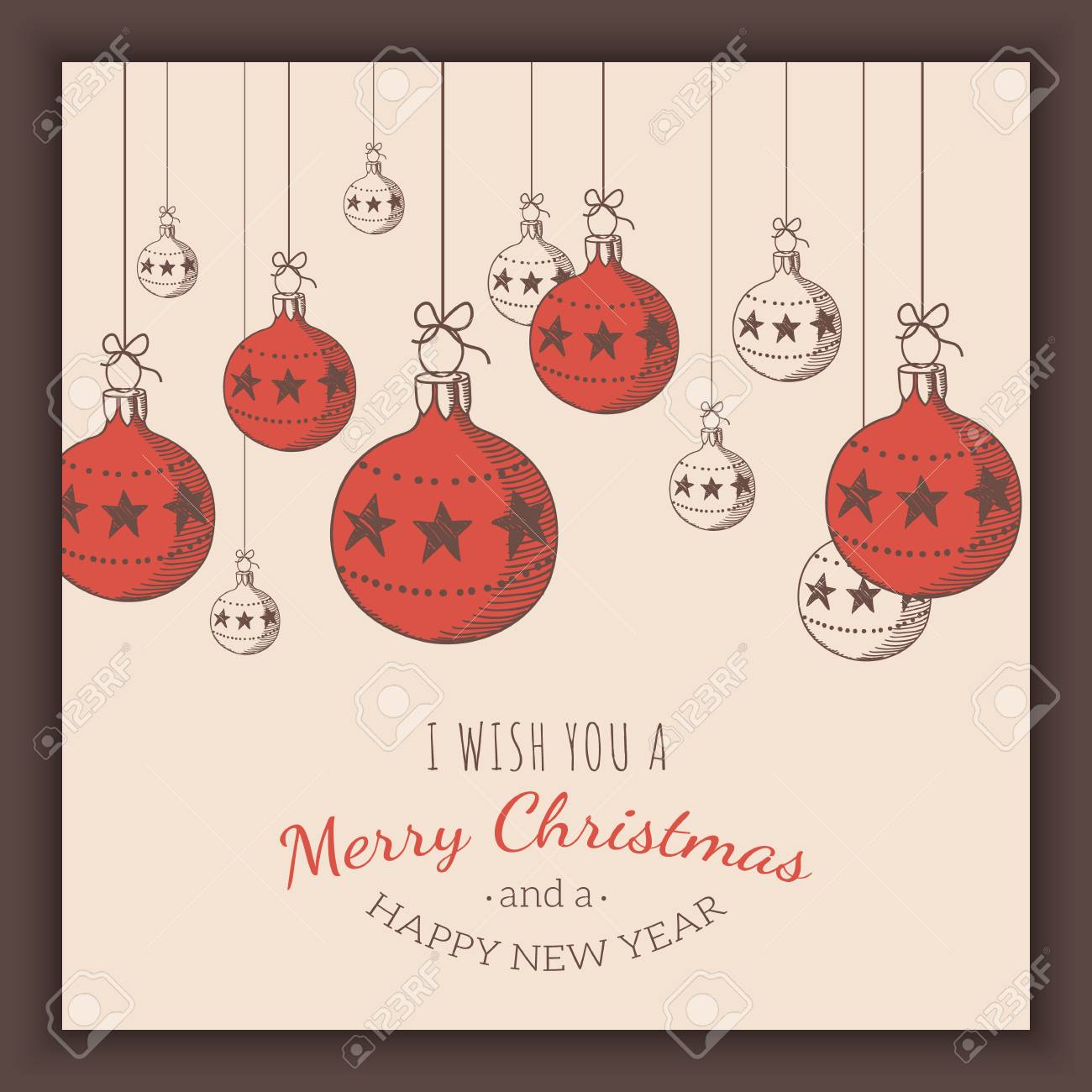 christmas and new year card template vector vintage background stock vector 68804470