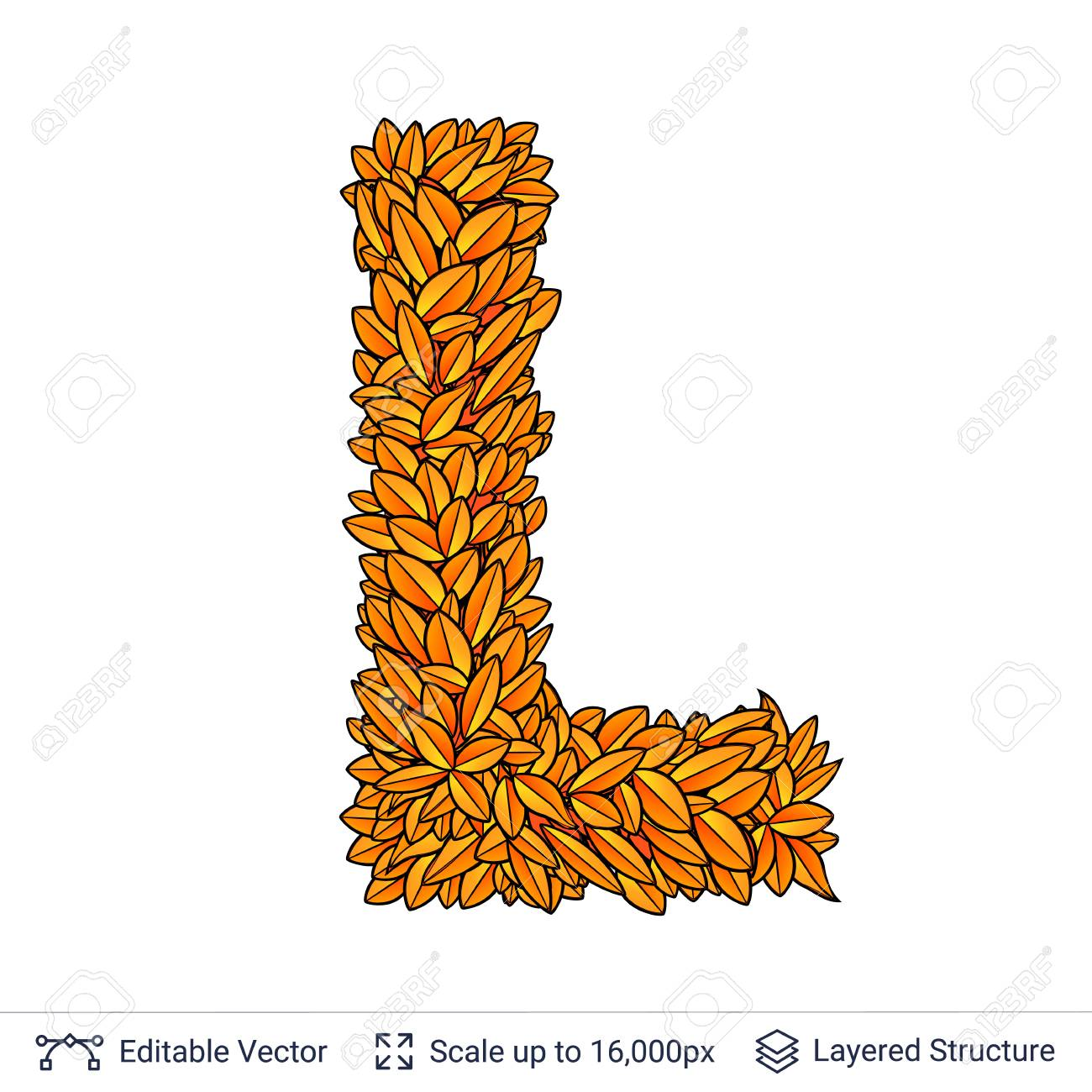 Letter L sign of autumn leaves. - 106754514