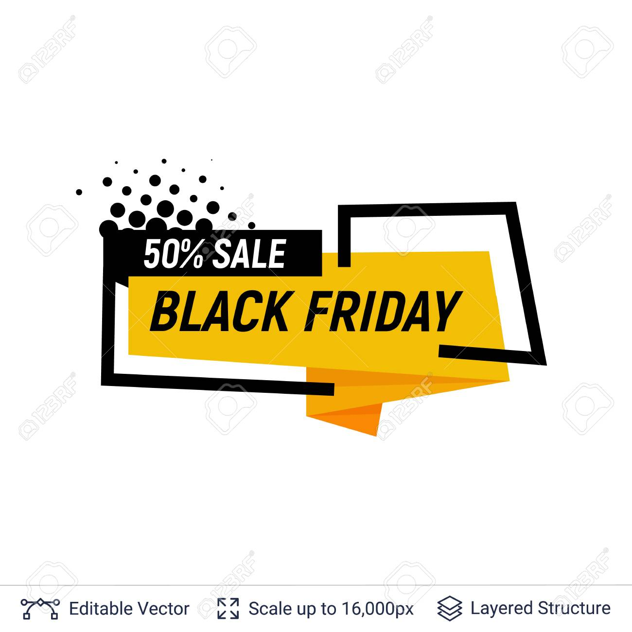 89d2bb8b30de4 Black Friday Sale Badge. Geometric shapes and text Stock Vector - 107859890