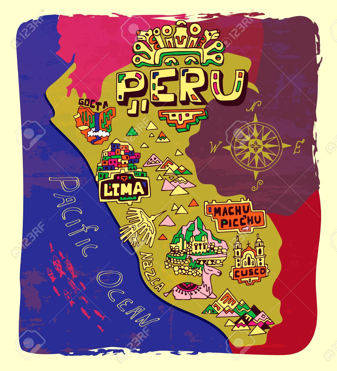 Illustrated map of Peru. Travel and attractions