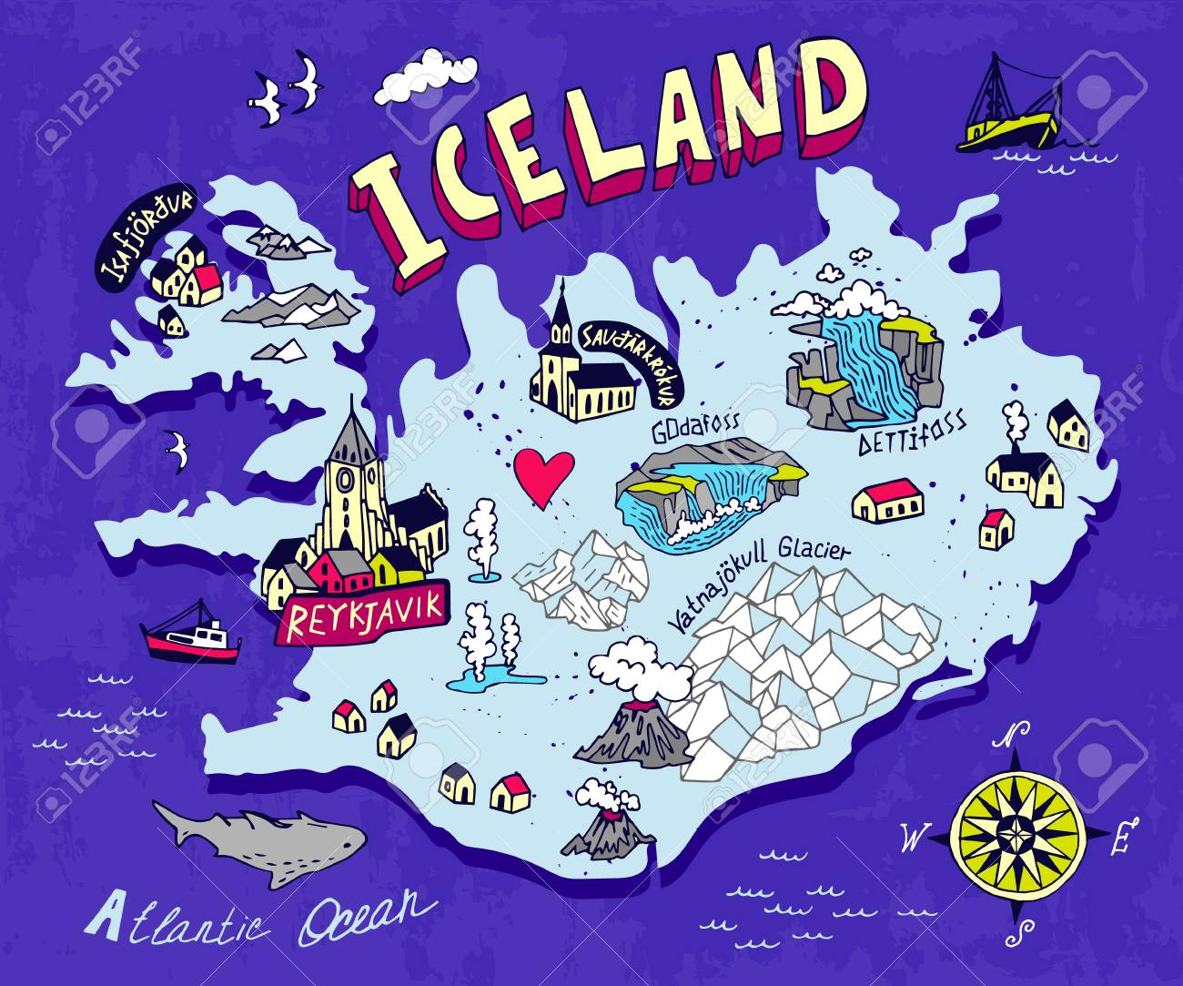 Illustrated map of Iceland. Travel and attractions - 95737319