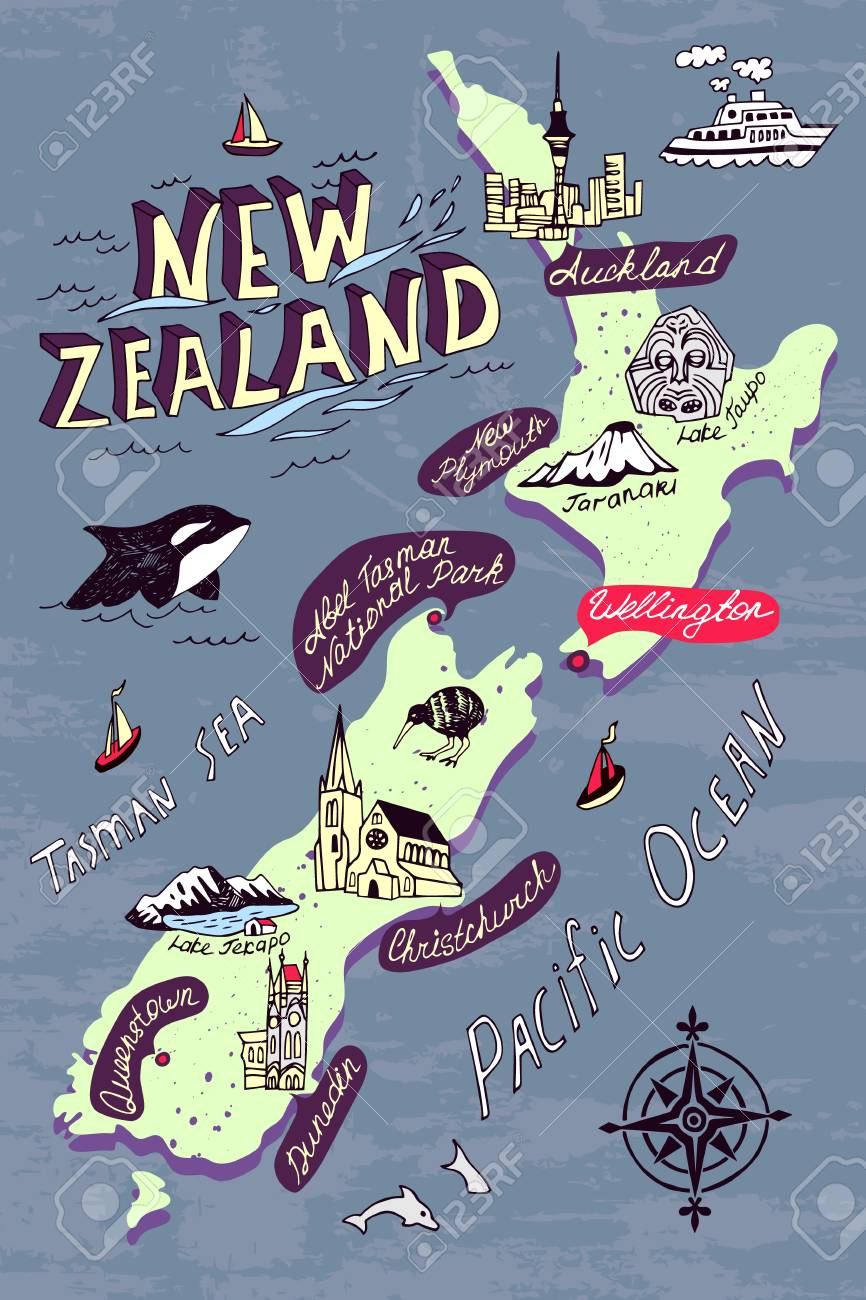 Travel Map New Zealand.Illustrated Map Of The New Zealand Travel And Attractions