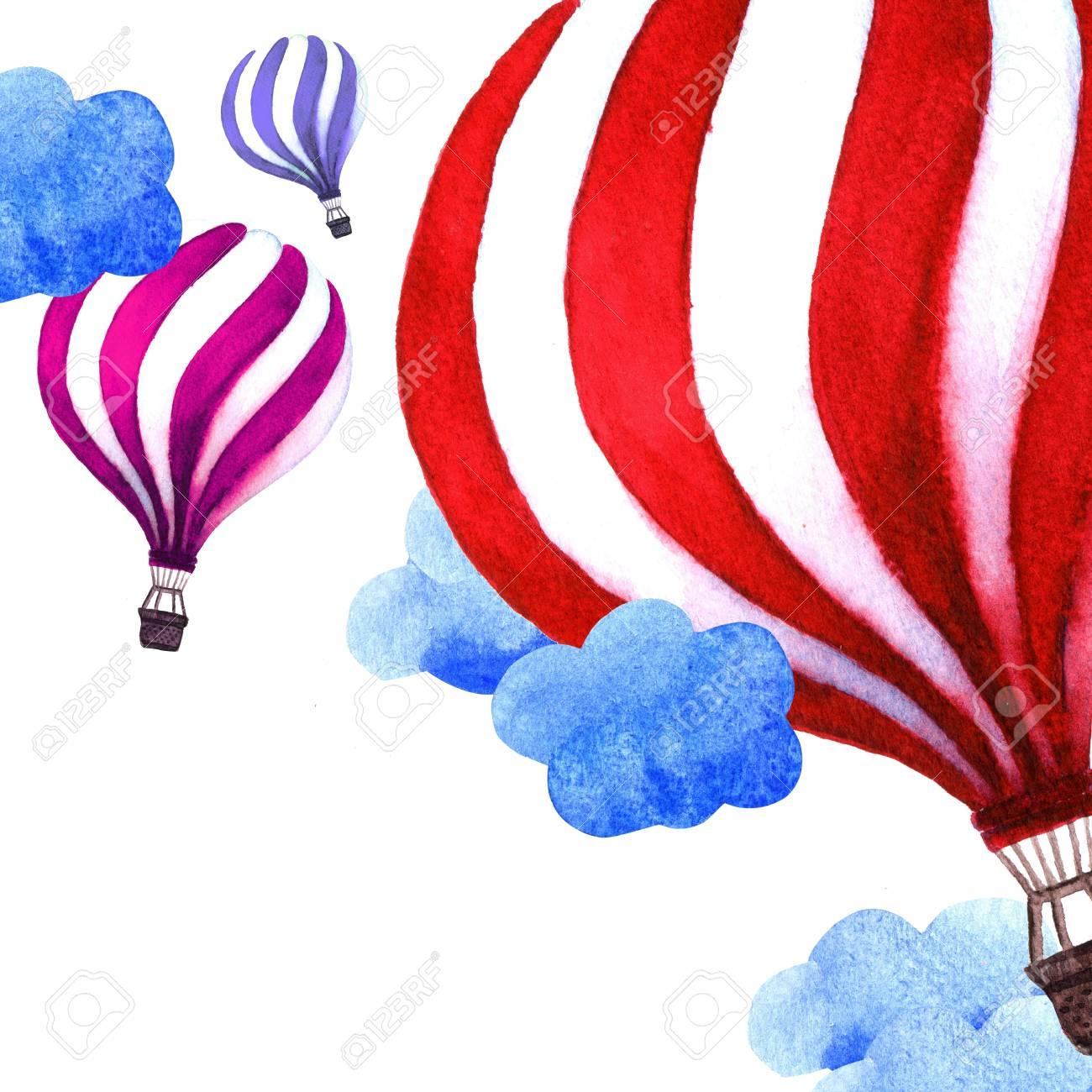 Tarjeta De Verano Con Coloridos Globos De Aire Caliente Fondo De Ilustración Acuarela Globos Aerostáticos En El Cielo Perfecto Para Invitaciones