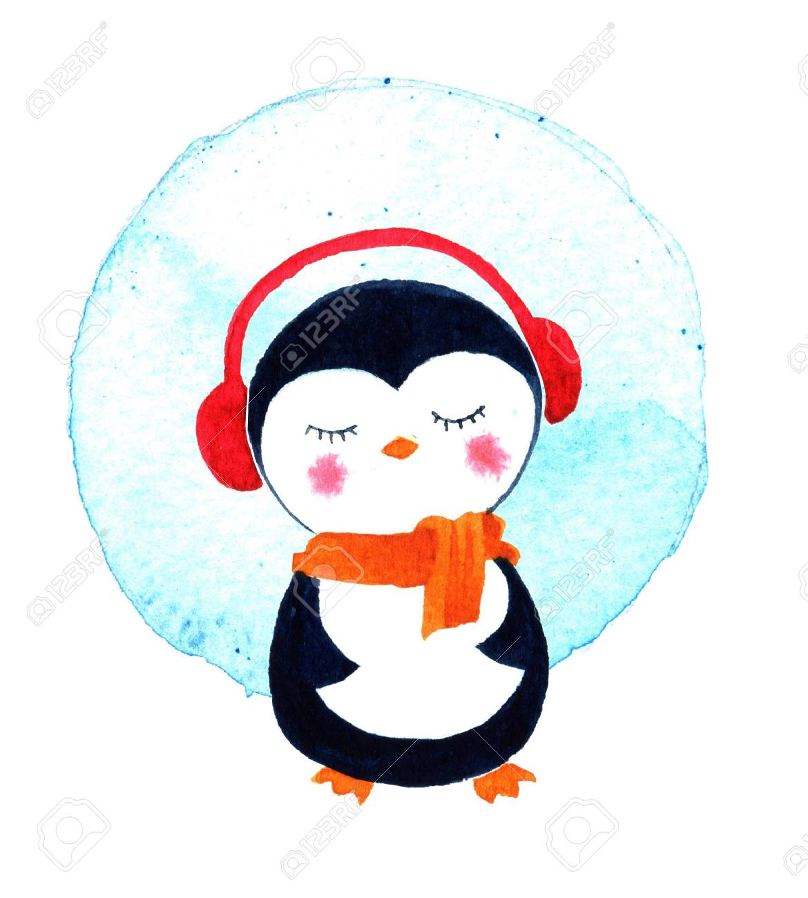 Christmas Cards With Cute Little Penguin. Cartoon Penguin Character ...