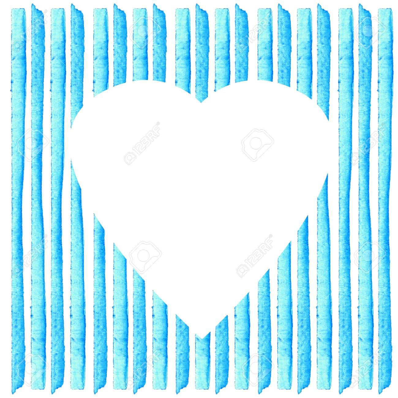 Weiß Herzform Auf Blauen Streifen In Aquarell Gemalt Aquarell