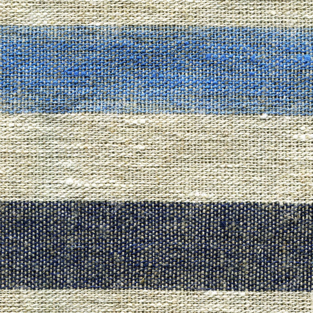 Azul, Beige, Patrón De Rayas Gris En Tela De Lino. Textura De La ...