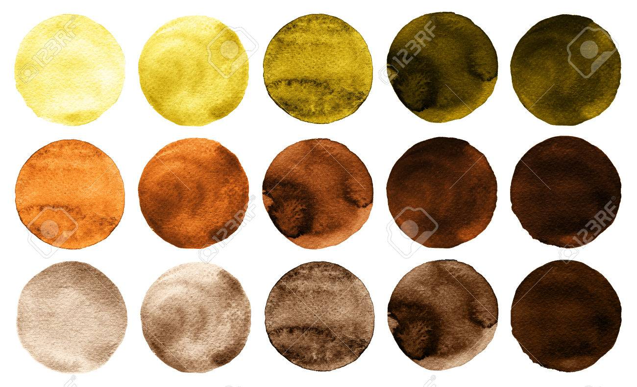 Watercolor Circles In Shades Of Yellow And Brown Colors Isolated Stock Photo Picture And Royalty Free Image Image 81514176