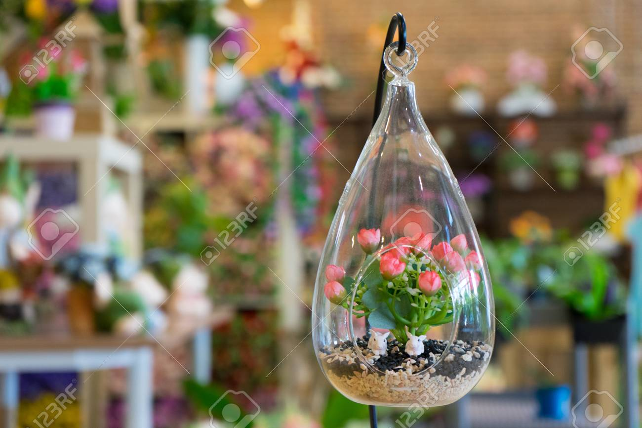 Mini Garden In Glass Plant Terrarium With Rose Flowers Made Of
