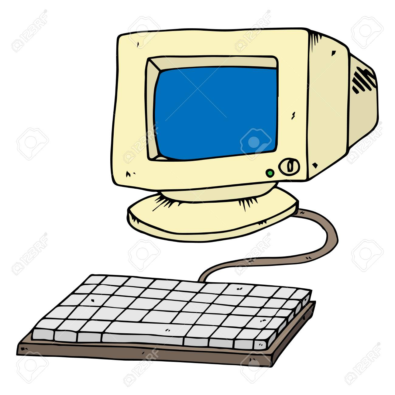 Crt Monitor Old Computer Monitor With Keyboard Vector Illustration Royalty Free Cliparts Vectors And Stock Illustration Image 110722277