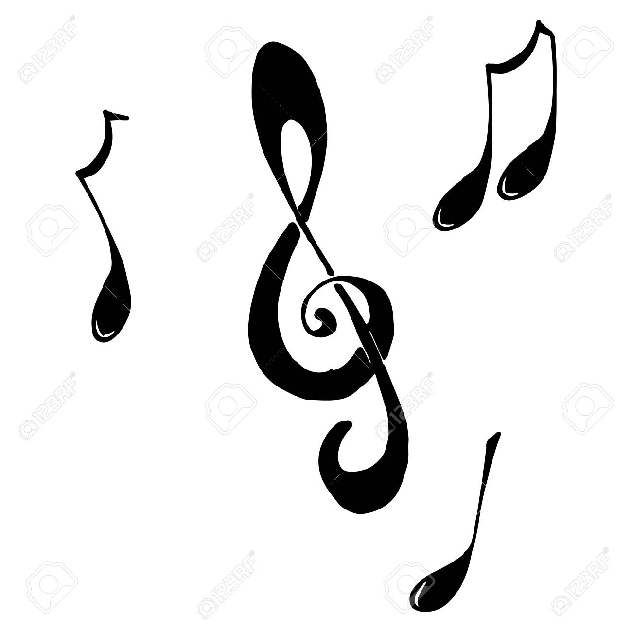 Vector Illustration Of Music Notes Doodle Musical Mill Hand Drawn