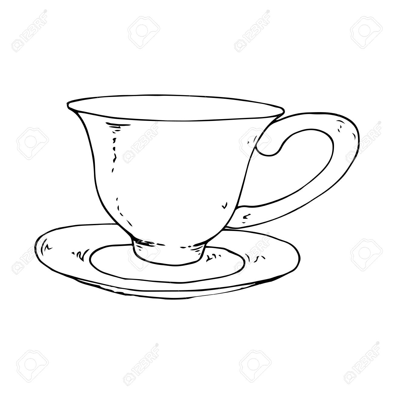 Tea Mug With A Saucer Vector Illustration Of A Tea Cup And Saucer Royalty Free Cliparts Vectors And Stock Illustration Image 113542448