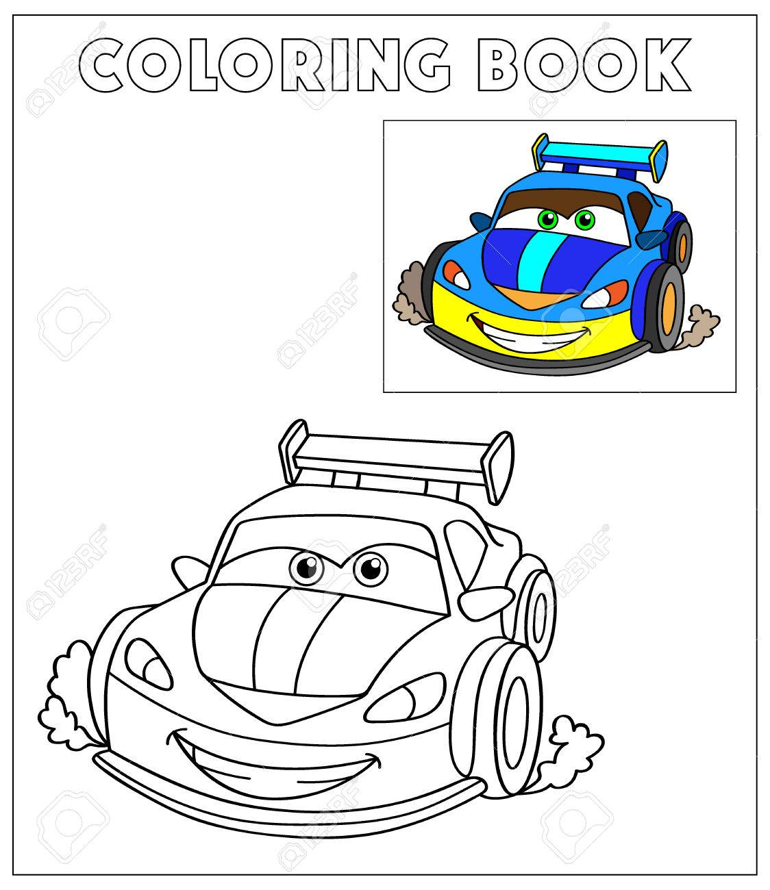 Coloring Book, Cartoon Vector Illustration of Black and White..