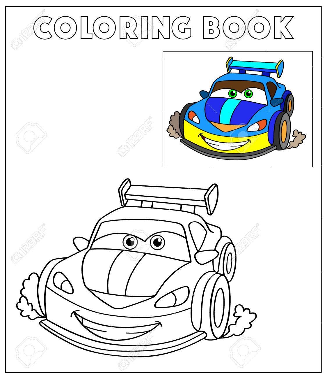 Libro Para Colorear, Ilustración Vectorial De Dibujos Animados De ...
