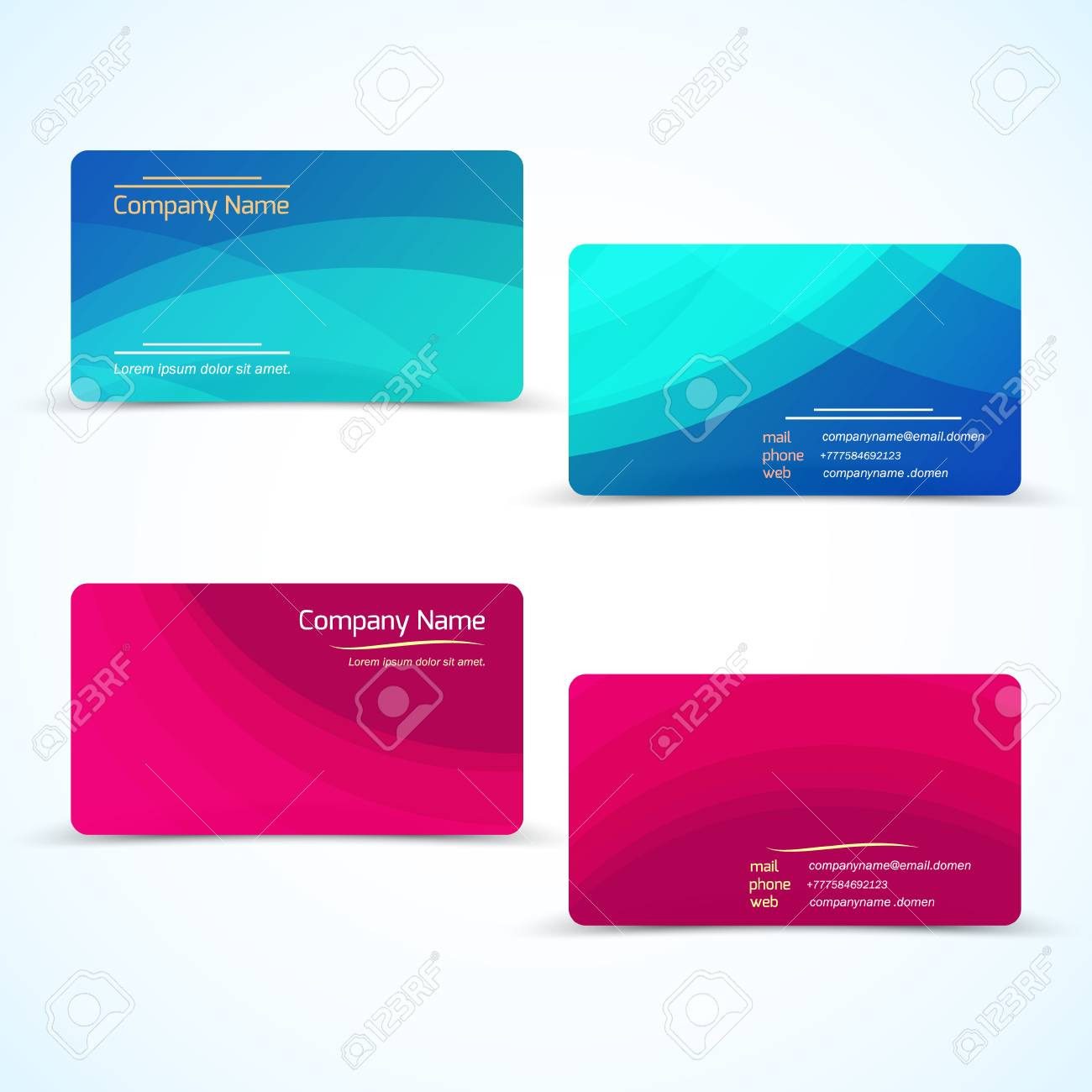 Set of two color modern business card vector business card set of two color modern business card vector business card with abstract wave background reheart Choice Image