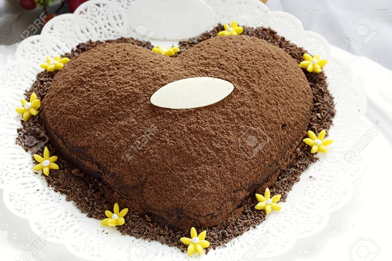 Heart Chocolate Cake Chocolate Powder Cocoa Stock Photo Picture And