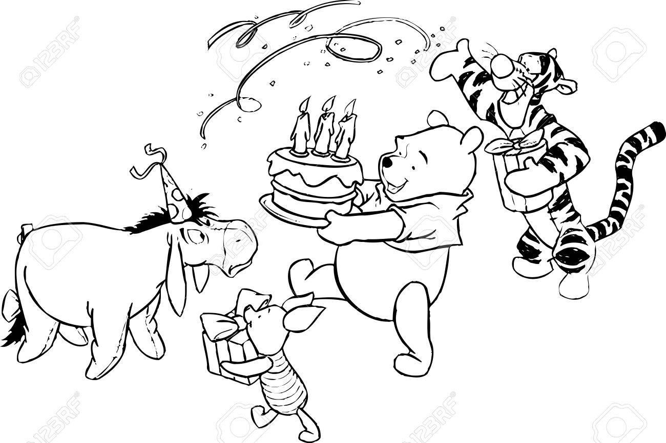 くまのプーさんのイラストぬりえケーキ の写真素材画像素材 Image