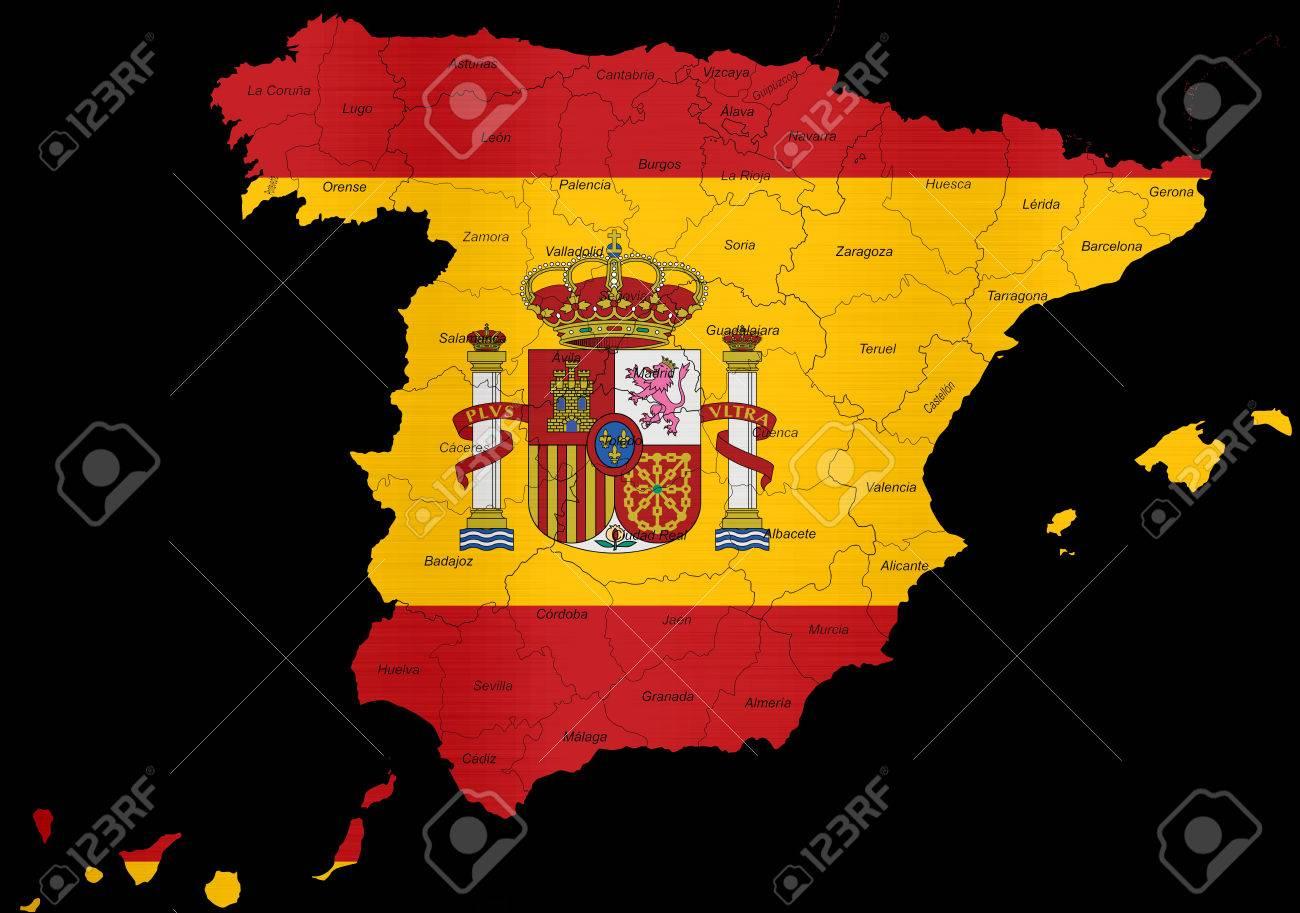 mapa bandera de espana