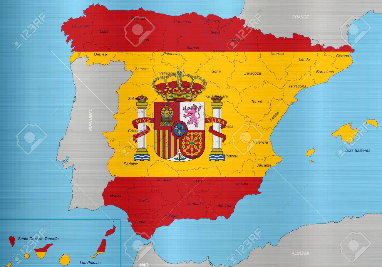 Spain Flag Map Regions Stock Photo, Picture And Royalty Free Image ...