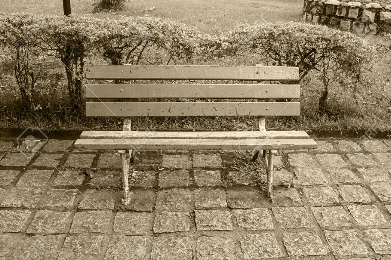 Wondrous Vintage Wooden Bench Seat Nobody Garden Sunlight Outdoors Pdpeps Interior Chair Design Pdpepsorg