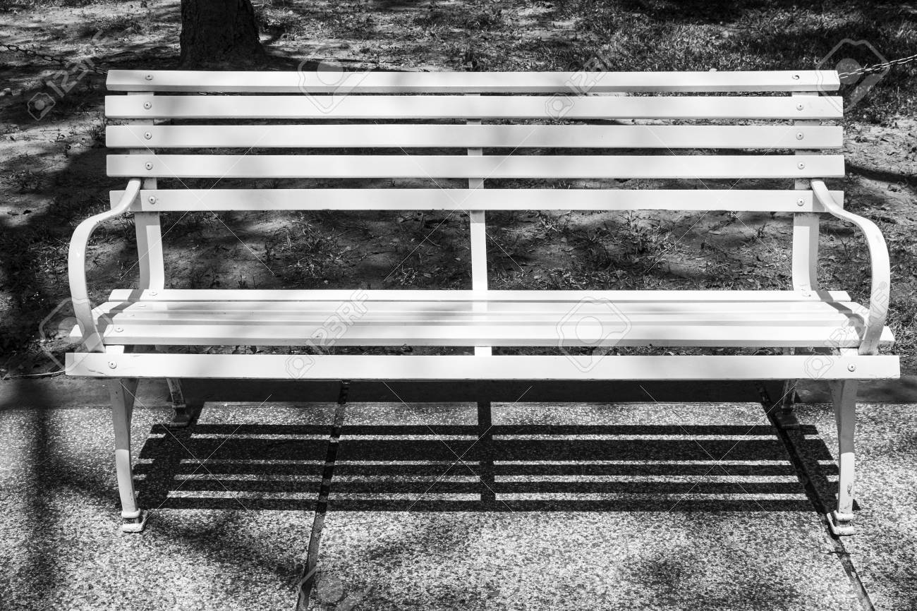 White Wooden Bench Seat Outdoor Nobody Park Relaxation Sunny Stock
