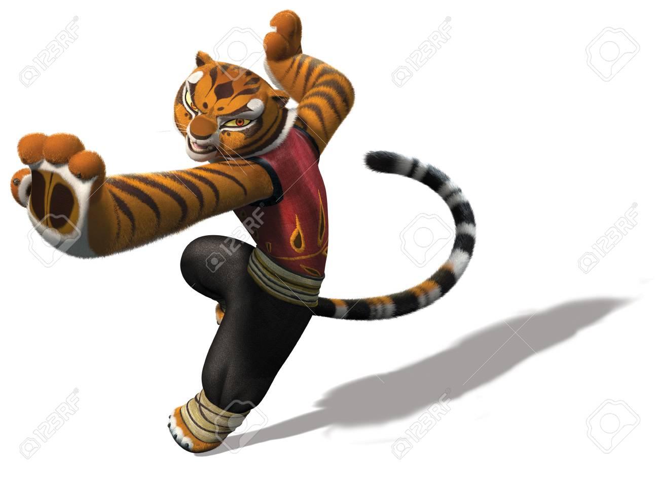 master tigress kung fu panda illustration cartoon warrior stock