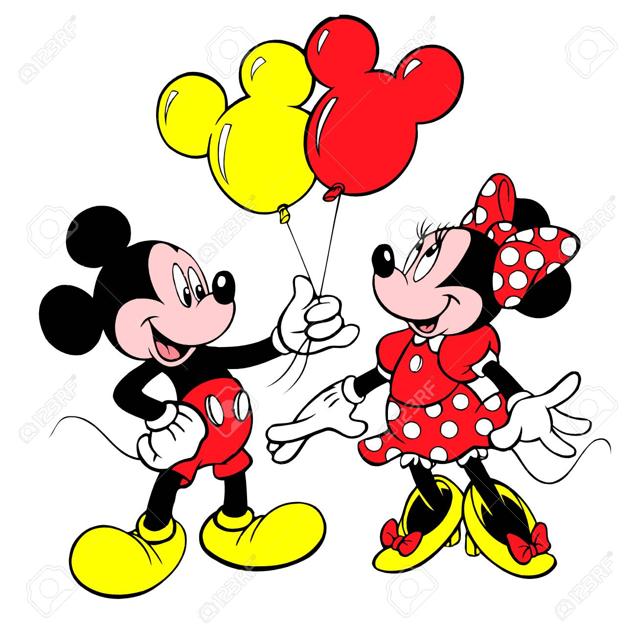 Minnie Mouse Red Tie Mickey Mouse Balloons Gift Stock Photo Picture
