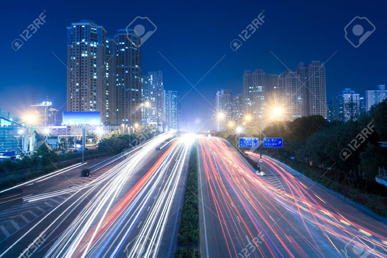 light trails on the busy street Stock Photo - 9762163