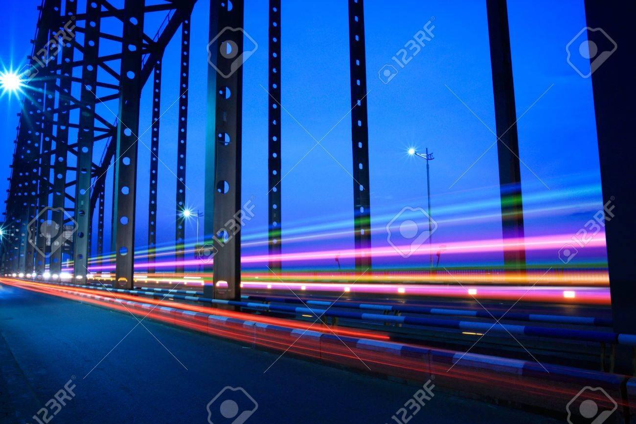 highway bridge light trails at dusk Stock Photo - 10022444