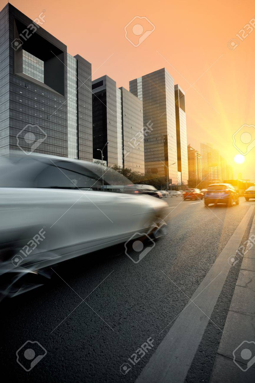 evening traffic on the modern building background in beijing,China Stock Photo - 10840790
