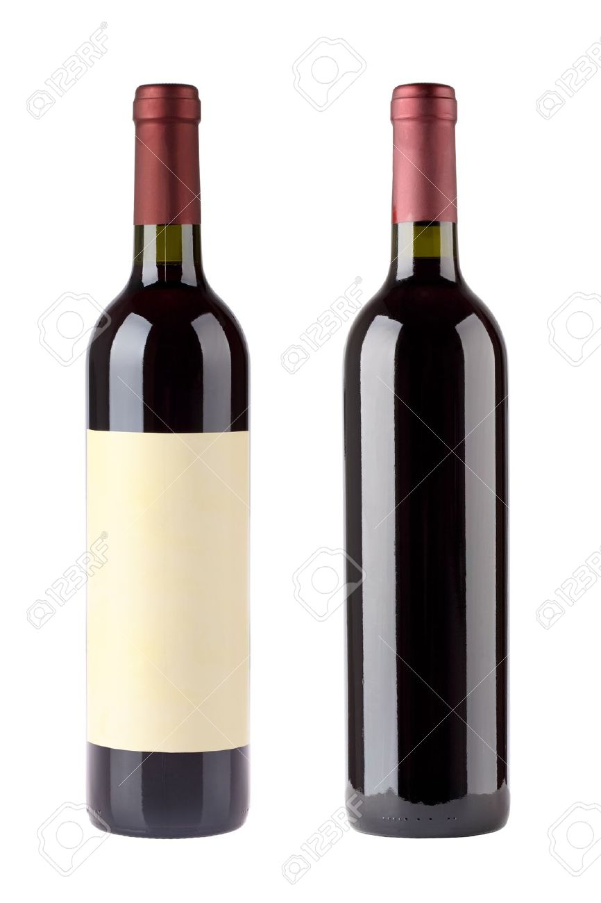 two red wine bottles with blank label isolated on white Stock Photo - 11850696