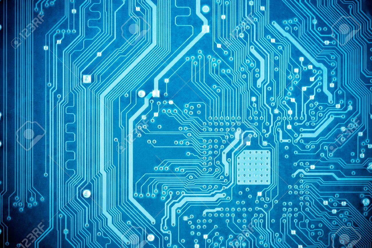Close Up Of The Blue Circuit Board Stock Photo, Picture And Royalty ...