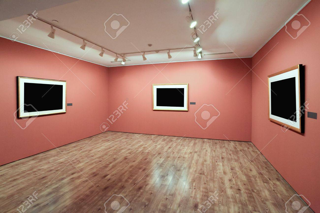 blank picture frame in a room against exhibition wall Stock Photo - 12943601
