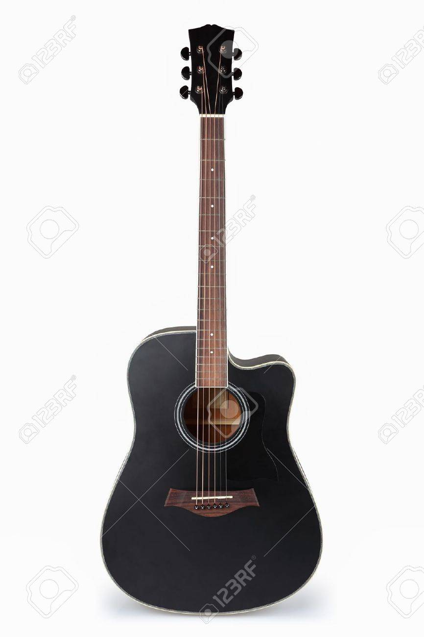 Black Acoustic Guitar With White Background Stock Photo Picture And