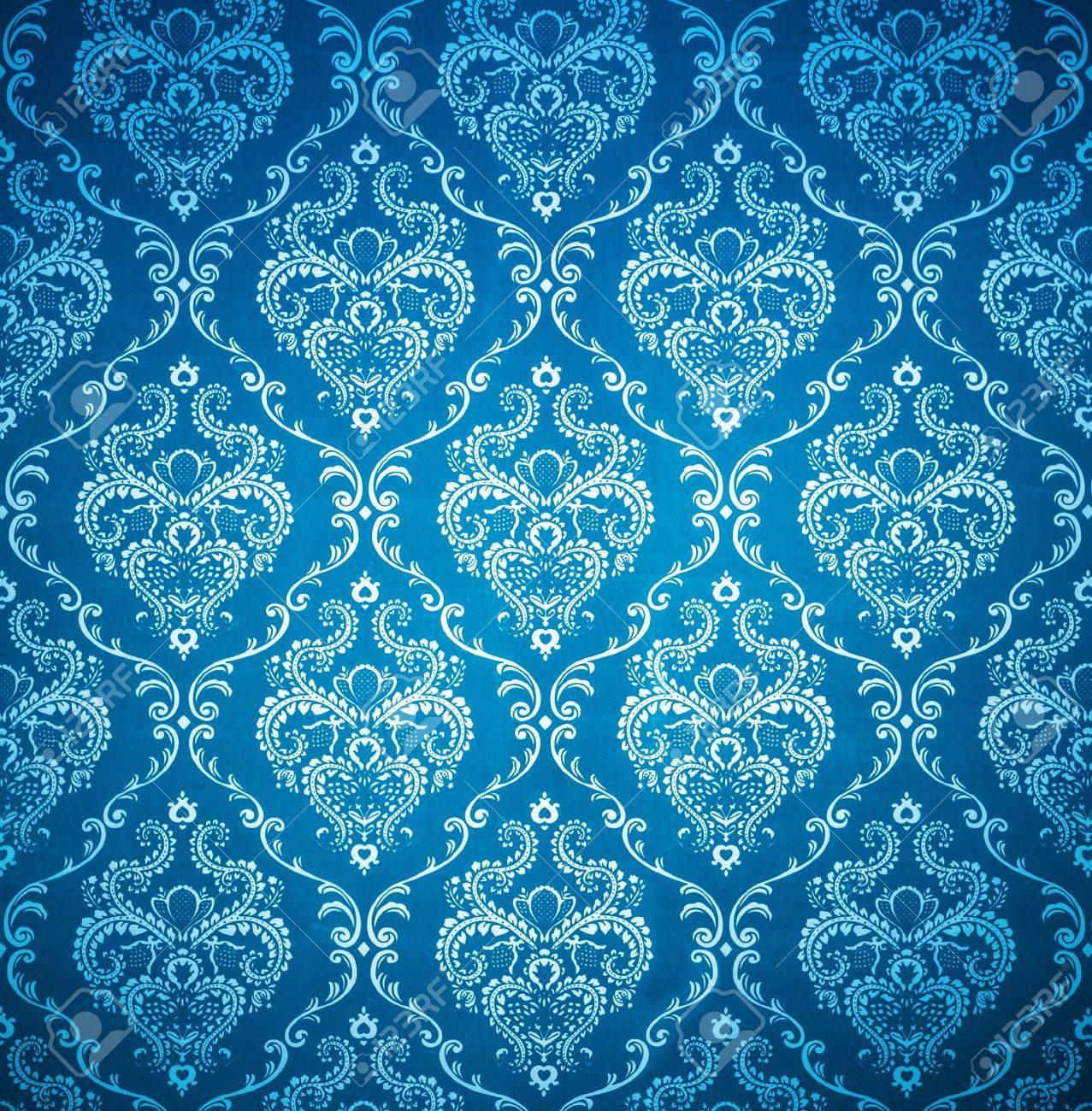 Texture Background Of Seamless Damask Blue Wallpaper