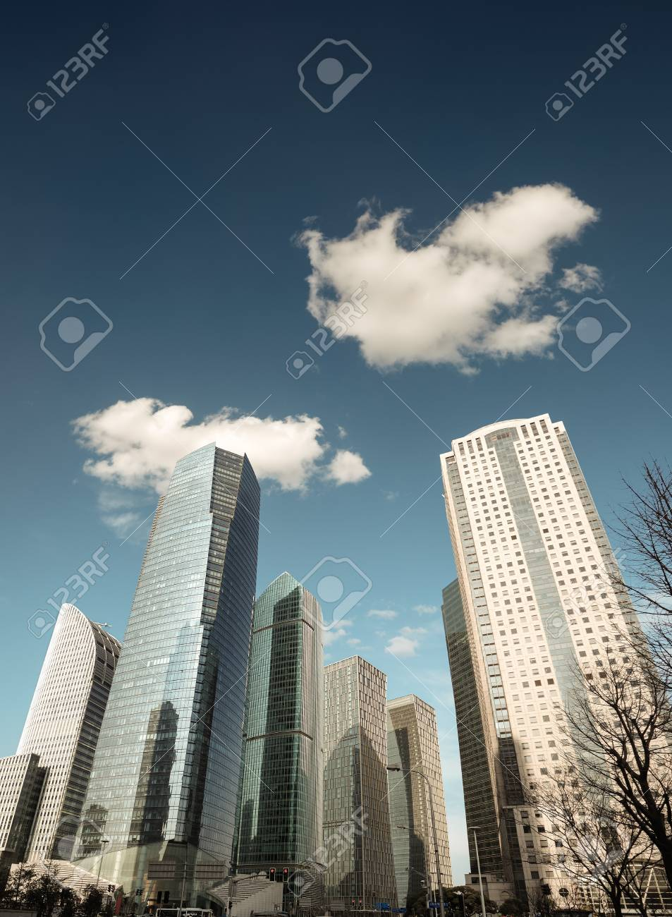 shanghai financial center skyline against a blue sky,China Stock Photo - 18086177