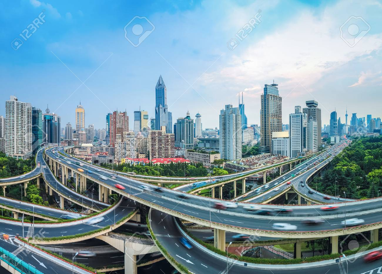 panoramic view of city elevated road junction at dusk in shanghai - 28390696